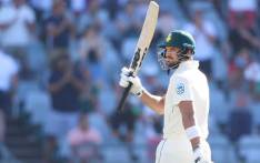 South African batsman Aiden Markram raises his bat as he celebrates after scoring a half century (50 runs) during the first day of the second Cricket Test match between South Africa and Pakistan at the Newlands cricket stadium on 3 January 2019 in Cape Town, South Africa. Picture: AFP