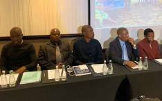 The founder of the People's Dialogue Herman Mashaba on 22 January 2020 briefed the media along with the family and former colleagues of Lily Mine workers - Solomon Nyarende, Pretty Nkambule, and Yvonne Mnisi - who died in February 2016 after being trapped underground. Picture: @HermanMashaba/Twitter