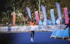 Cape Town marathon winner Stephen Mokoka crosses the finish line. Picture: Cindy Archillies/EWN