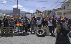 People demonstrate during a general strike in la Paz, Bolivia on 15 October 2019. Picture: AFP