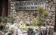 Flowers laid outside Parktown Boys' High School on 20 January 2020 after one of its pupils Enoch Mpianzi died at a school camp in the North West. Picture: Abigail Javier/EWN