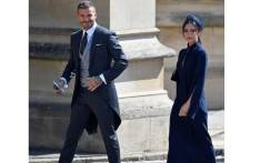 David and Victoria Beckham arrive at the wedding of Britain's Prince Harry to Meghan Markle in Windsor on 19 May 2018. Picture: Reuters