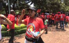 Cosatu president Zingiswa Losi at the NUM march outside the Union Buildings on 17 November 2018. Picture: Bonga Dlulane/EWN