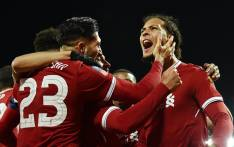 FILE: Liverpool's Virgil van Dijk celebrates with teammates after scoring a goal against city rivals Everton. Picture: @LFC/Twitter