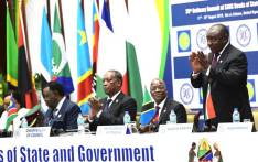 President Cyril Ramaphosa (R) at the 39th SADC Summit taking place in Tanzania. Picture: @CyrilRamaphosa/Twitter