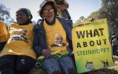 Supporters of former President Jacob Zuma outside the state capture commission on 15 July 2019. Picture: Abigail Javier/EWN.