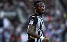 Angers' Tchadian forward Casimir Ninga reacts after scoring a goal during the French L1 Football match between SCO Angers and AS Saint-Etienne on 22 September 2019 at Raymond-Kopa Stadium in Angers, northwestern France. Picture: AFP.