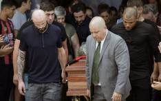 Nantes' French defender Nicolas Pallois (L) and relatives of late Argentine footballer Emiliano Sala carry his coffin during the funeral at the Club Atletico y Deportivo San Martin in Progreso, Santa Fe, Argentina on 16 February 2019. Picture: AFP.