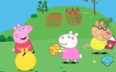A screengrab of characters from the Peppa Pig animated TV series.