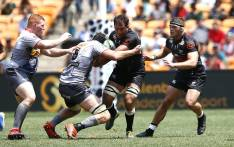 Stormers' David Meihuizen (2ndL) tackles Shark's Henco Venter (2ndR) during the Vodacom Superhero Sunday rugby match between the Cell C Sharks and the DHL Stormers at the FNB Stadium in Soweto on 19 January 2020. Picture: AFP