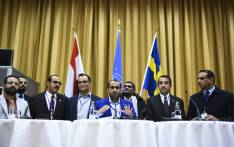 Rebel negotiator Mohammed Abdelsalam (C) holds a press conference together with members of the delegation following the peace consultations taking place at Johannesberg Castle in Rimbo, north of Stockholm, Sweden, on 13 December 2018. Picture: AFP