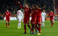 Bayern Munich players celebrate a win over Augsburg in the Bundesliga on 15 February 2019. Picture: @FCBayernEN/Twitter