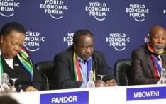 Finance Minister Tito Mboweni flanked by Minister Naledi Pandor and Governor Lesetja Kganyago at the World Economic Forum in Davos, Switzerland. Picture: Twitter/Tito Mboweni