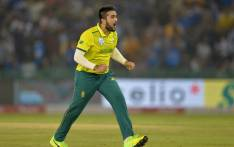 South Africa's Tabraiz Shamsi celebrates after he dismissed India's Shikhar Dhawan during the second Twenty20 international cricket match of a three-match series between India and South Africa at Punjab Cricket Association Stadium in Mohali on 18 September 2019. Picture: AFP