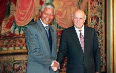 FILE: Nelson Mandela, African National Congress (ANC) President (left) and South Africa's last apartheid President Frederik de Klerk (right), shake hands on 10 December 1993 in Oslo after being awarded the Nobel Peace Prizes. Picture: AFP