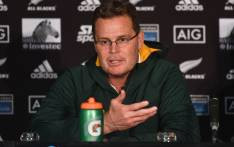South Africa's head coach Rassie Erasmus speaks to the media in a post-match presser after the Rugby Championship match between New Zealand and South Africa at Westpac Stadium in Wellington on 27 July 2019. Picture: AFP