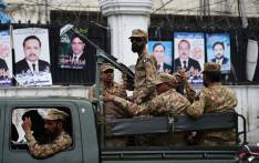 FILE: Pakistani soldiers patrol outside a voting material distribution centre in Lahore on 24 July, 2018. Pakistan will hold its general election on 25 July. Picture: AFP