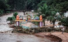 This picture shows the Umhlatuzana Hindu Temple, south of Durban, damaged after the township was hit by heavy rain and flash floods following torrential downpour on 23 April 2019. Picture: AFP
