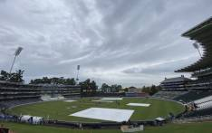 The rain has stopped and ground staff is working on the field following rain during the test match between the Proteas and England. Picture: Twitter/CSA