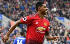 Manchester United's English striker Marcus Rashford celebrates after scoring the opening goal of the English Premier League football match between Leicester City and Manchester United at King Power Stadium in Leicester, central England on 3 February 2019. Picture: AFP