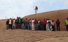 Miners sing songs of remembrance on the Koppie in Marikana. Picture: Gia Nicolaides/EWN.