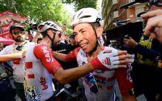 Team Lotto Soudal rider Caleb Ewan (right) after winning stage 11 of the Tour de France on 17 July 2019. Picture: @Lotto_Soudal/Twitter