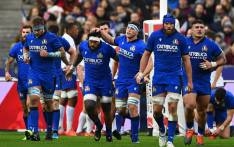 Italy's players celebrate a try during the Six Nations rugby union tournament match between France and Italy at the Stade de France in Saint-Denis, north of Paris, on 9 February 2020. Picture: AFP