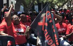 "Activists demonstrate outside Parliament ahead of their ""Real Jobs Summit"" being held at a hall within the St George's Cathedral precinct on 24 February 2020. Picture: Kevin Brandt/EWN"