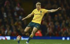 Australia's Reece Hodge kicks at goal. Picture: AFP