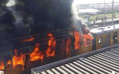 FILE: A Metrorail train on fire at the Koeberg station in Cape Town on 21 August 2018. Picture: One Second Traffic Alerts