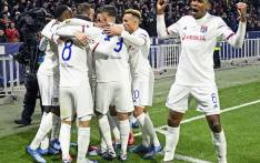 Lyon players celebrate a goal against Juventus in their UEFA Champions League match on 26 February 2020. Picture: @OL_English/Twitter