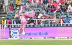 Kagiso Rabada in action during the Pink ODI vs Pakistan on Sunday, 27 January. Picture: @OfficialCricketSA/Twitter.
