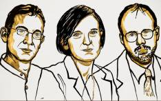 An illustration of 2019 Nobel Economics Prize winners Abhijit Banerjee, Esther Duflo and Michael Kremer. Picture: @NobelPrize/Twitter