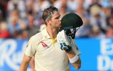 FILE: Australia's Steve Smith celebrates his century on the opening day of the first Ashes cricket Test match between England and Australia at Edgbaston in Birmingham, central England on 1 August 2019. Picture: AFP