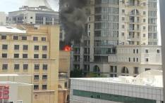 An image of the fire at Nelson Mandela Square in Sandton, Johannesburg on 21 November 2018. Picture: EWN Reporter via @TheSt1ck/Twitter