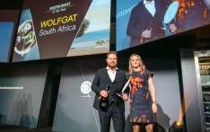 Kobus van der Merwe (left) and his partner receive their World Restaurant Awards prize in Paris on 18 February 2019. Picture: @worldrestawards/Twitter