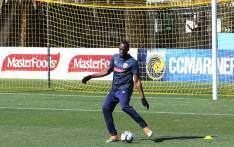 FILE: Eight-time Olympic champion Usain Bolt trains for the first time for the A-League football club Central Coast Mariners in Gosford on 21 August 2018. Picture: AFP.