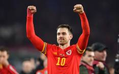 Wales' midfielder Aaron Ramsey reacts at the final whistle during the Group E Euro 2020 football qualification match between Wales and Hungary at Cardiff City Stadium in Cardiff, Wales on 19 November 2019. Picture: AFP