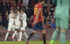 England's forward Raheem Sterling (2L) celebrates with teammates after scoring during the Uefa Nations League football match between Spain and England on 15 October 2018, at the Benito Villamarin stadium in Sevilla. Picture: AFP