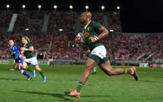 South Africa's Makazole Mapimpi runs to score a try during the friendly rugby match between Japan and South Africa at the Kumagaya Rugby Stadium in Kumagaya on 6 September 2019. Picture: AFP