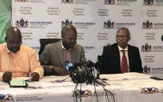 Gauteng Cogta MEC Lebogang Maile (centre) at a press briefing on 23 March 2020 to announce administrators for the recently dissolved Tshwane city council. Picture: @GDCoGTA/Twitter.