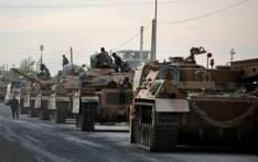Tanks are pictured lined up as Turkish soldiers and Turkey-backed Syrian fighters deploy near the Turkish village of Akcakale along the border with Syria on 11 October 2019, as they prepare to take part in the Turkish-led assault on northeastern Syria. Picture: AFP