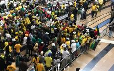President Jacob Zuma's supporters wait for him to arrive at the OR Tambo International Airport on Saturday, 22 February 2020. Picture: EWN