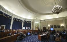 A overall view of the hearing room as Lt. Col. Alexander Vindman, National Security Council Director for European Affairs, and Jennifer Williams, adviser to Vice President Mike Pence for European and Russian affairs testify before the House Intelligence Committee in the Longworth House Office Building on Capitol Hill on 19 November 2019 in Washington, DC. Picture: AFP