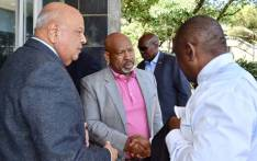 (L-R) Public Enterprises Minister Pravin Gordhan, Eskom board chairperson Jabu Mabuza, and President Cyril Ramaphosa (L) meet at the power utility's headquarters at Megawatt Park, Johannesburg, on 11 December 2019 ahead of a meeting on the latest spate of power cuts in the country. Picture: @PresidencyZA/Twitter.