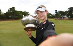 Nelly Korda poses with her trophy after claiming the LPGA Australian Open. Picture: @LPGA/Twitter.