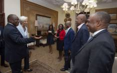 President Cyril Ramaphosa, Reserve Bank Governor Lesetja Kganyago and Deputy Daniel Mminele with IMF's Christine Lagarde. Picture: @SAgovnews/Twitter.