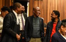 Economic Freedom Fighters chairperson and advocate Dali Mpofu, EFF leader Julius Malema and EFF spokesperson Mbuyiseni Ndlozi pictured in court on 6 August 2019. Picture: @EFFSouthAfrica/Twitter