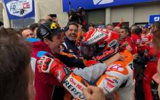 Marc Marquez celcbrates his 3rd Moto GP win of the season with his brother, Alex, who won the Moto 2 event.  Picture: Twitter/@HRC_MotoGP
