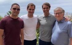 (From L-R) Trevor Noah, Roger Federer, Rafa Nadal and Bill Gates. Picture: Trevor Noah/Facebook.